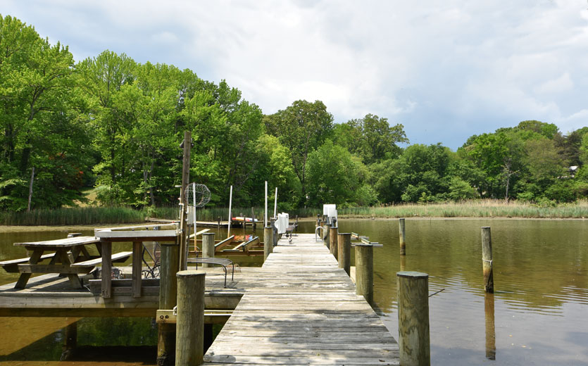 Pier of an Arnold, MD waterfront home, overlooking Dividing Creek (just off the Magothy River).