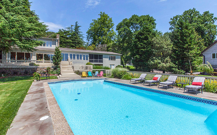 Pool of Severna Park waterfront home, overlooking Round Bay and the Severn River.