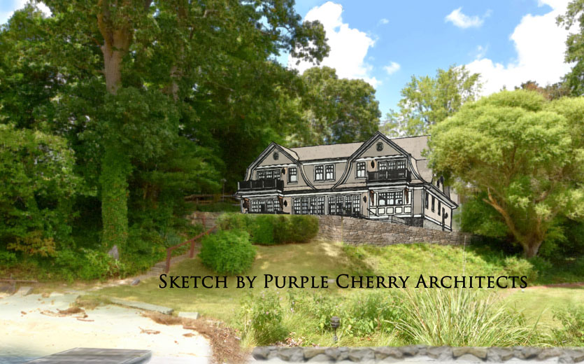 What a new home could look like on the site; drawing courtesy of award-winning  Purple Cherry Architects.